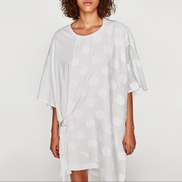 606bef836b4 NWT Zara White Asymmetric Polka Dot T Shirt Dress
